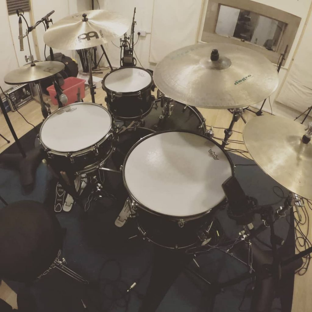 Picture of the drum kit set up at NoiseBoy Studios in Salford