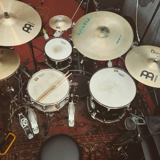 Picture of my current drum kit setup in the teaching studio
